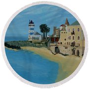 European Lighthouse Round Beach Towel