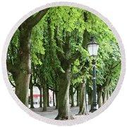 European Park Trees Round Beach Towel