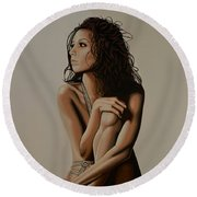 Eva Longoria Painting Round Beach Towel