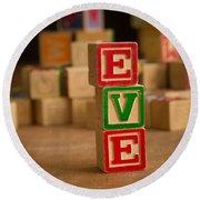 Eve - Alphabet Blocks Round Beach Towel