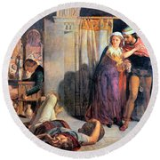 Eve Of Saint Agnes The Flight Of Madelein The Drunkenness Attending The Revelry Round Beach Towel