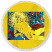 Eve/ Red Apple Of Temptation Round Beach Towel