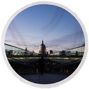 Even The Clouds Aligned With St Paul's Cathedral And The Millennium Bridge - London Round Beach Towel