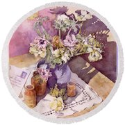 Evening Anemones Round Beach Towel by Julia Rowntree