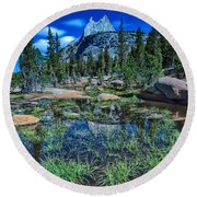 Evening At Cathedral Lakes Round Beach Towel