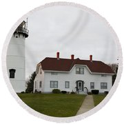Evening At Chatham  Lighthouse Round Beach Towel