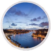 Evening At Douro River In Portugal Round Beach Towel