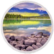 Evening At Lake Annette Round Beach Towel