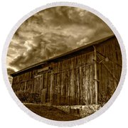 Evening Barn Sepia Round Beach Towel
