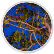 Evening Blues Round Beach Towel