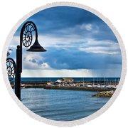 Evening Calm At Lyme Regis Round Beach Towel