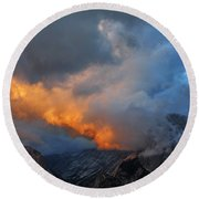 Evening Clouds And Half Dome At Yosemite Round Beach Towel