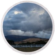 Evening Clouds Over Ashland Farm Country Round Beach Towel