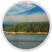 Evening Fog Round Beach Towel