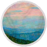 Evening Glow At Rock Castle Gorge  Round Beach Towel