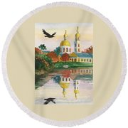 Evening Gong Of The Russian Church Round Beach Towel