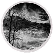 Evening Great Falls Maine Round Beach Towel