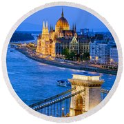 Evening In Budapest Round Beach Towel