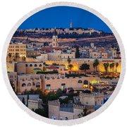 Evening In Jerusalem Round Beach Towel