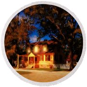 Evening In Small Town U. S. A. Round Beach Towel