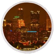 Evening In The City Of Champions Round Beach Towel