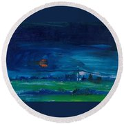 Evening Landscape Oil On Canvas Round Beach Towel