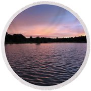 Evening Light Amazon River Round Beach Towel