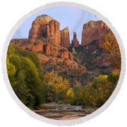 Evening Light On Cathedral Rock Round Beach Towel