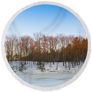 Evening Light On The Trees Round Beach Towel
