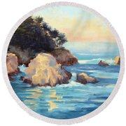 Evening Light Point Lobos Round Beach Towel