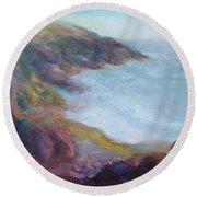 Evening Light On The Oregon Coast - Original Impressionist Oil Painting - Plein Air Round Beach Towel