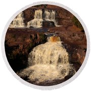 Evening Light Waterfalls Round Beach Towel