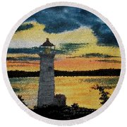 Evening Lighthouse In Stained Glass Round Beach Towel
