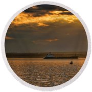 Evening Mariners Puget Sound Washington Round Beach Towel