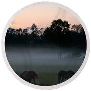 Evening Mist Round Beach Towel