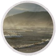 Evening Mist Over Ecola State Park Round Beach Towel