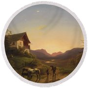 Evening Mood In Front Of A Wide Landscape With Horses Round Beach Towel