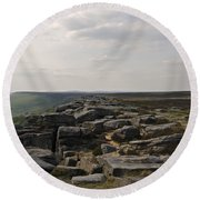 Evening On Stanage Edge Round Beach Towel