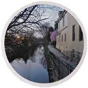 Evening On The Canal Path Round Beach Towel