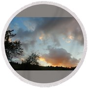 Evening On The Hill Round Beach Towel