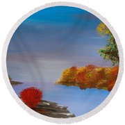 Evening On The Last Sunny Day Round Beach Towel