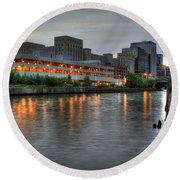 Evening On The River Round Beach Towel
