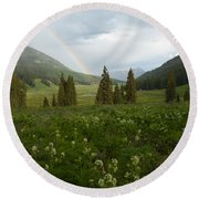 Evening Rainbow In The Rocky Mountains Round Beach Towel