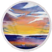 Evening Seascape Round Beach Towel by Lou Gibbs
