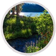 Evening Shadows At Lake George Round Beach Towel