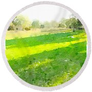 Evening Shadows Round Beach Towel