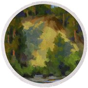Evening Shadows Teanaway River Round Beach Towel
