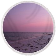 Evening Sky At The Beach Round Beach Towel