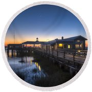 Evening Sky At The Dock Round Beach Towel