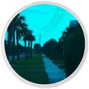 Evening Stroll At Isle Of Palms Round Beach Towel
